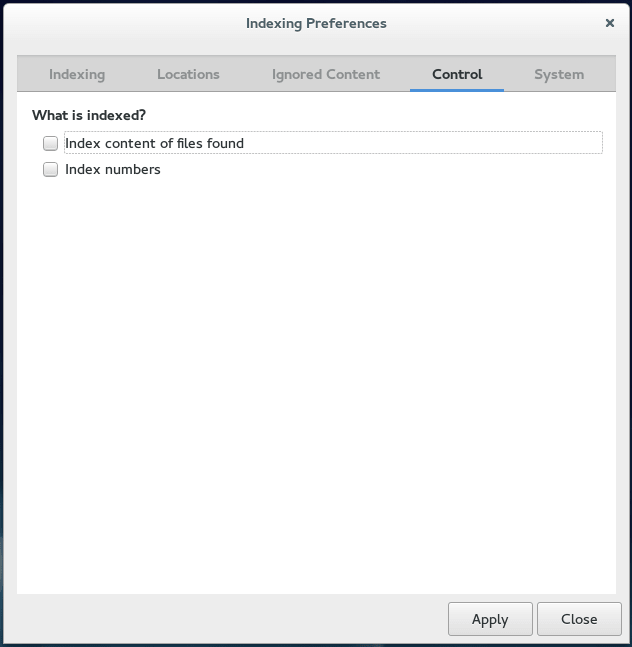 Tracker Indexing / Control Preference on Fedora