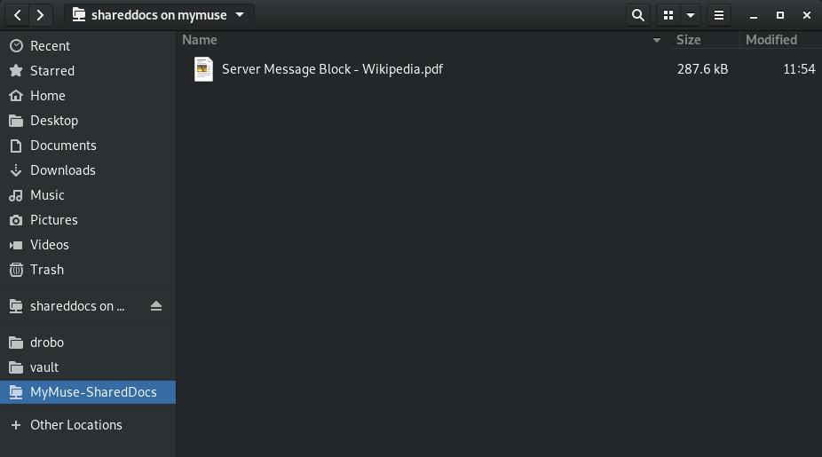 screenshot of bookmarked share with custom name in nautlius