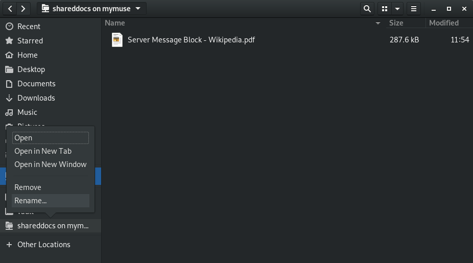 screenshot of renaming a bookmark in nautilus