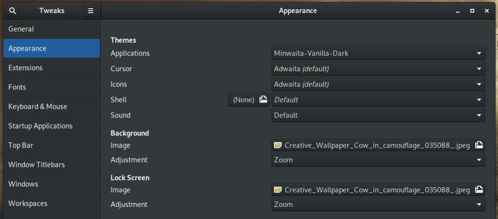 Changing desktop themes using Gnome Tweak Tool