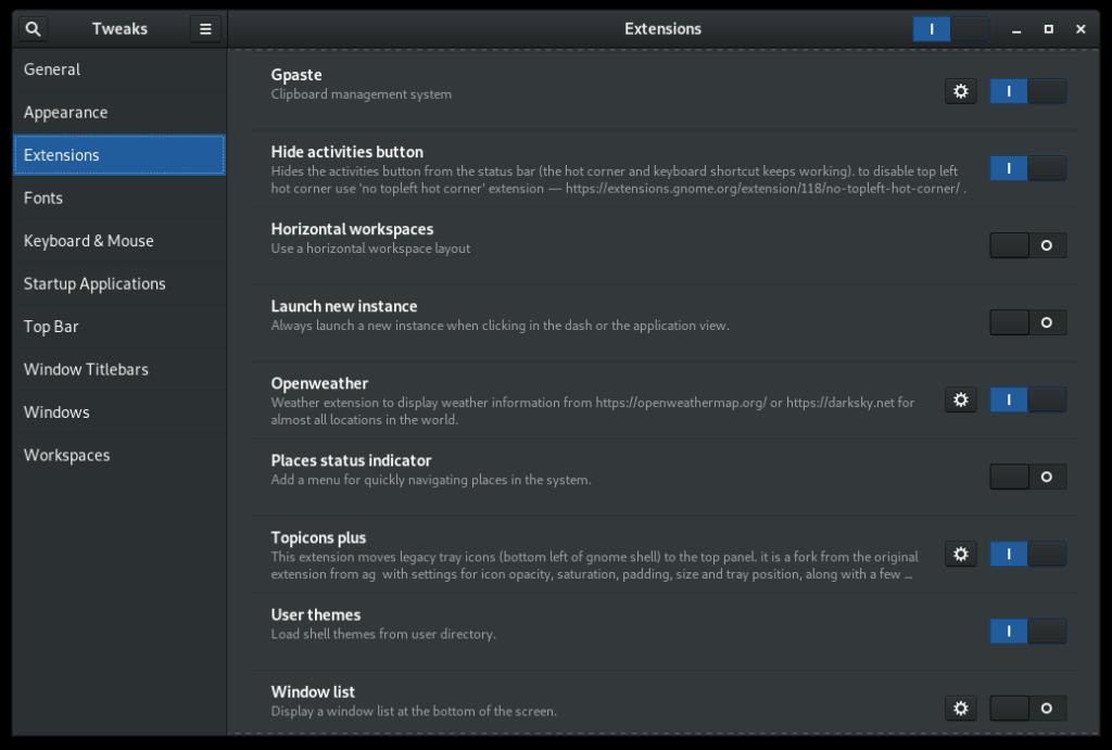 Enable extensions in Gnome Tweak Tool Gnome Tweaks