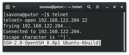 SSH banner grabbing using telnet on Ubuntu Server