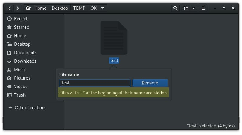 Creating a hidden file in GUI file manager on Linux