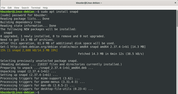 screenshot of snapd being installed on a debian system