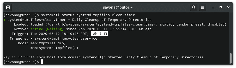 Checking time left on systemd-tmpfiles timer unit
