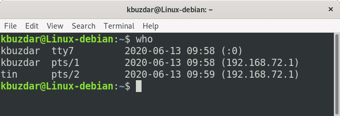 screenshot of a linux who command example