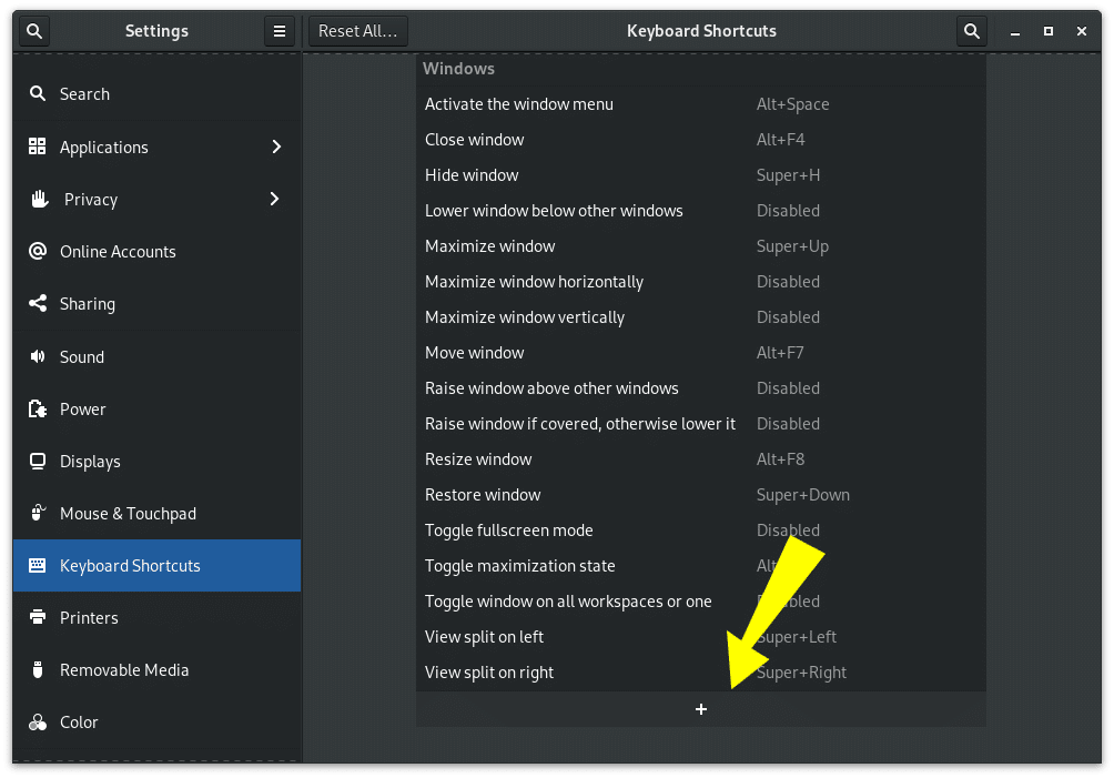 Gnome Keyboard Shortcuts Settings Panel showing how to add shortcut