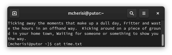 example of unformatted text on the Linux terminal