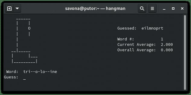 hangman on the Linux command line