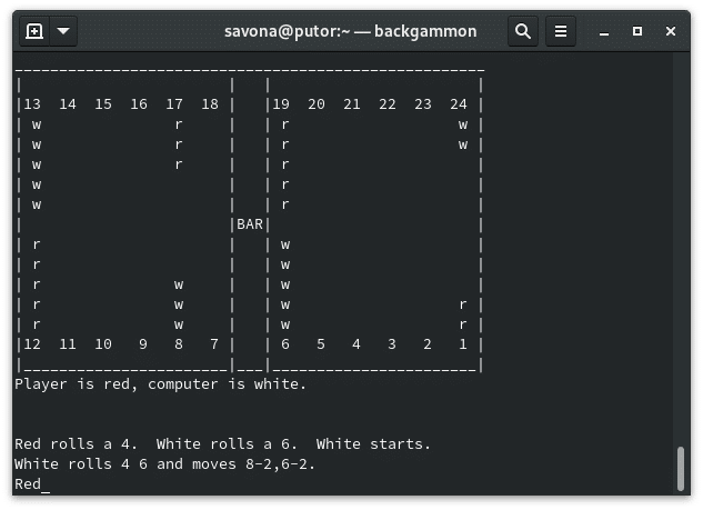 backgammon - the oldest known board game being played on the Linux command line