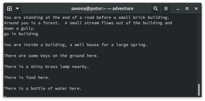 Adventure - a vintage text based adventure Linux game for the command line
