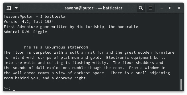 battlestar Linux text based adventure game on the command line