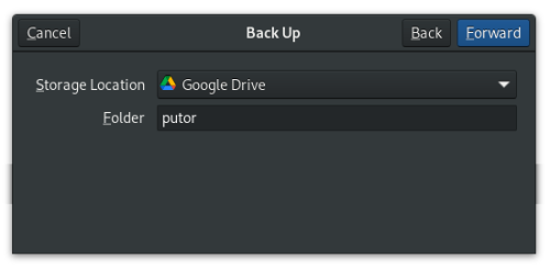 select backup location with deja dup