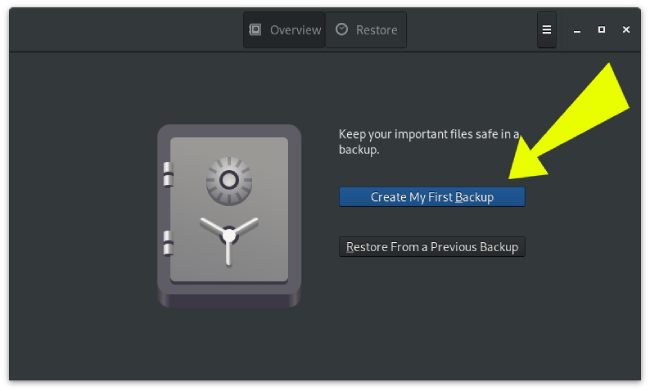Deja Dup Create First Backup Screen