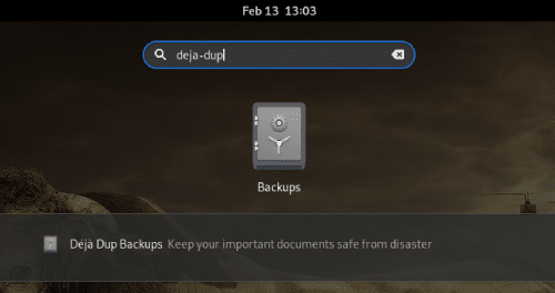 Launching DejaDup on Linux